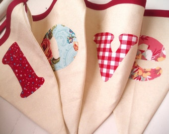 Valentine Bunting Banner-LOVE- Red, Cream, Aqua Blue, Pink- Roses- Baby Girl Bunting