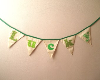 St. Patrick's Day Bunting Banner-LUCKY-Green, Lime Green, Grass Green