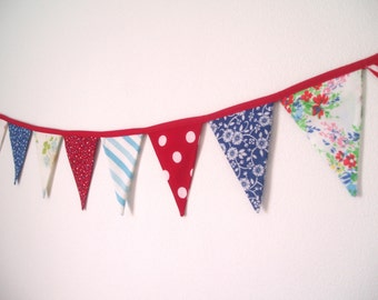 Vintage Fabric Flag Bunting Banner- 4th of July Bunting Banner-Red, White and Blue-Star Spangled Banner-Fourth of July