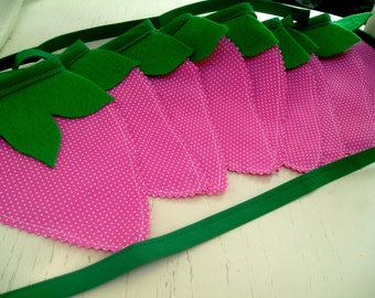 Fabric Bunting Banner Garland-Strawberry Hot Pink