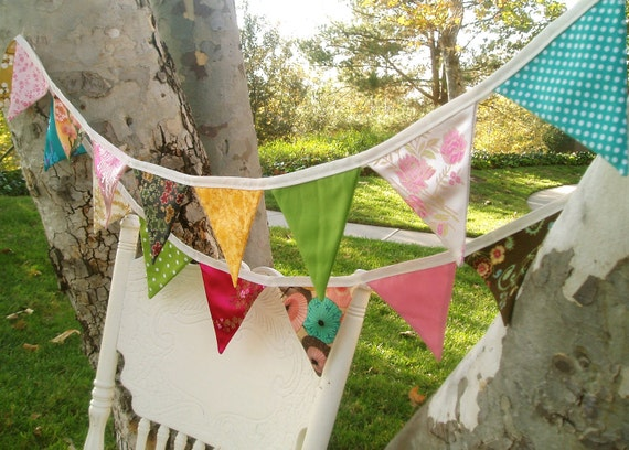 Japanese Bunting Banner Garland-Pink, Yellow, Green and Turquoise/Teal