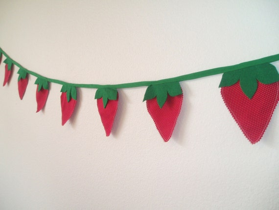 Strawberry Bunting Banner Garland-Strawberry Red