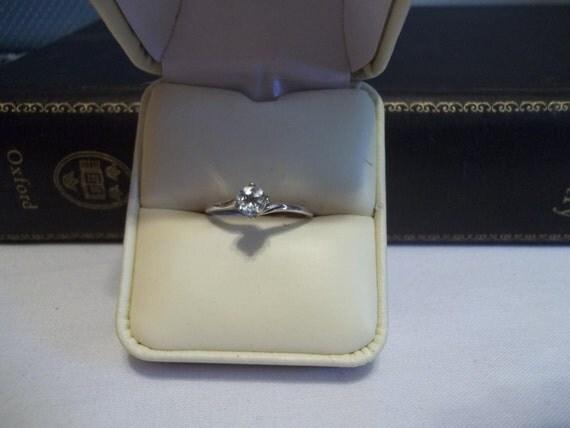 Vtg Genuine Aquamarine Sterling Silver Ring, Size 7 1/4, 5 mm round, 1/2 carat