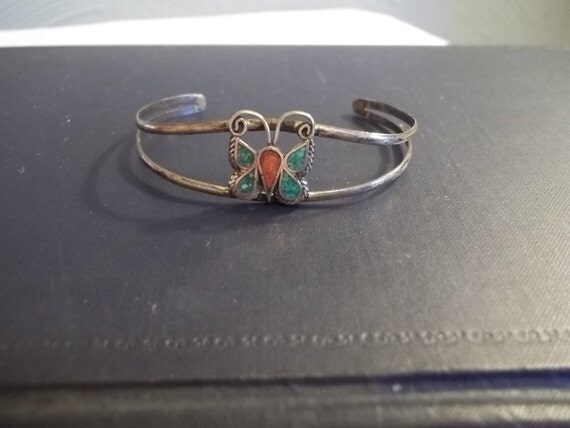 Vtg 1970s Native American, Butterfly Cuff Bracelet, Turquoise and Coral Inlay, Sterling Silver