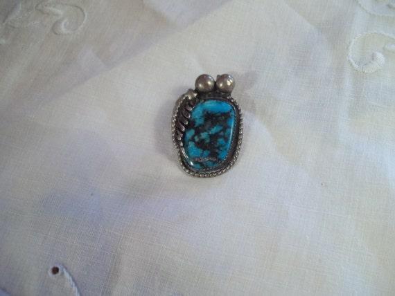 Vtg Navajo Turquoise Chunky Pendant, Southwestern, Black Matrix, Sterling