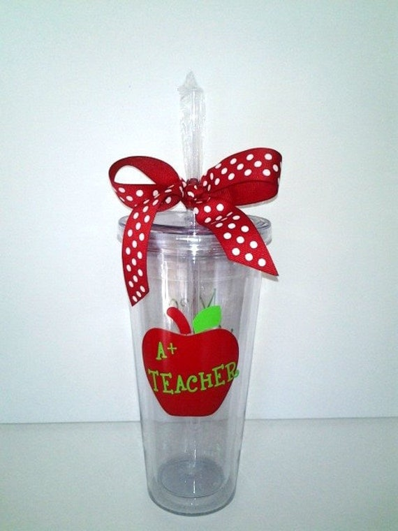 20 Ounce Insulated Tumbler with Straw for Teacher Gift - Personalized with Teacher's name