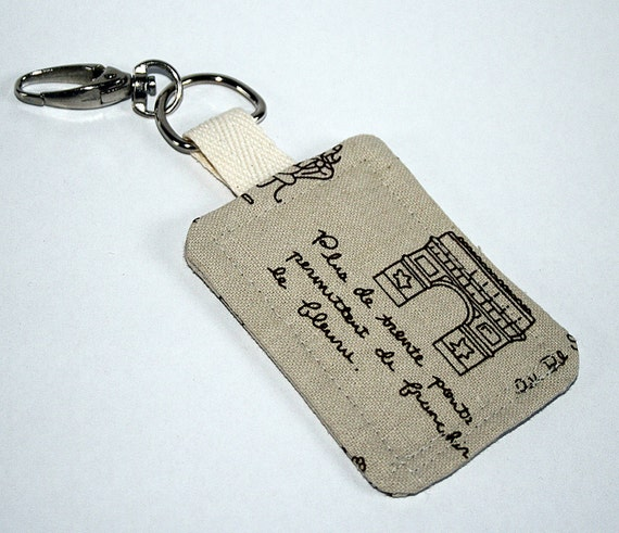 Vintage Style Paris Fabric Keyring / Key Fob