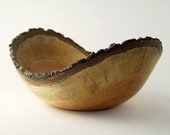 """Natural-Edge Wood Bowl in Salvaged Black Oak: 9.5"""" Length x 4.25"""" Tall."""