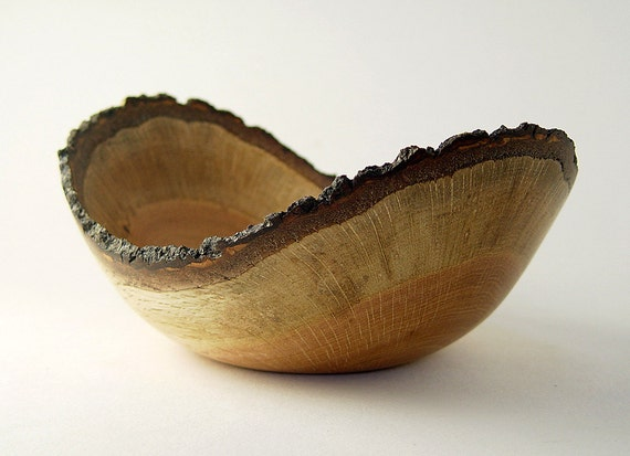 "Natural-Edge Wood Bowl in Salvaged Black Oak: 9.5"" Length x 4.25"" Tall."