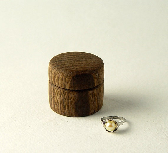 "Ring Box, Handturned from Reclaimed Walnut Wood. 1.5"" Tall,  Wide"