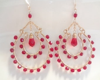 Ruby Red Crystals, Wire Wrapped, 14K Goldfilled, Large Chandelier Earrings, Fashion, Modern, Custom, Handmade Jewelry, Jewellery