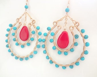 Turquoise Earrings, Red Coral Earrings, Gold Filled, Sterling Silver, Boho Chic, Hoop Earrings, Wire Wrapped, Handmade Jewelry, Jewellery
