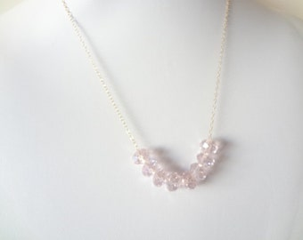 Carrie Necklace Pink Crystals, 14K Gold Filled, Sterling Silver, Chain Necklace, Bridesmaids, Weddings, Handmade Jewelry, Jewellery
