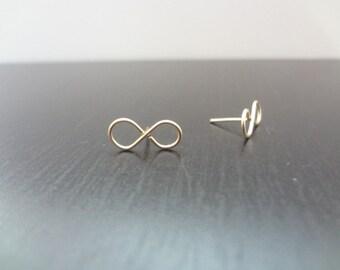 Infinity Earrings, Studs, 14K Gold Filled, Dainty, Minimalist, Bridesmaids, Bridal, Weddings, Handmade Jewelry, Jewellery