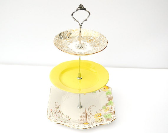 Summer Yellow tuscan china, tams and Colclough three tier cake stand