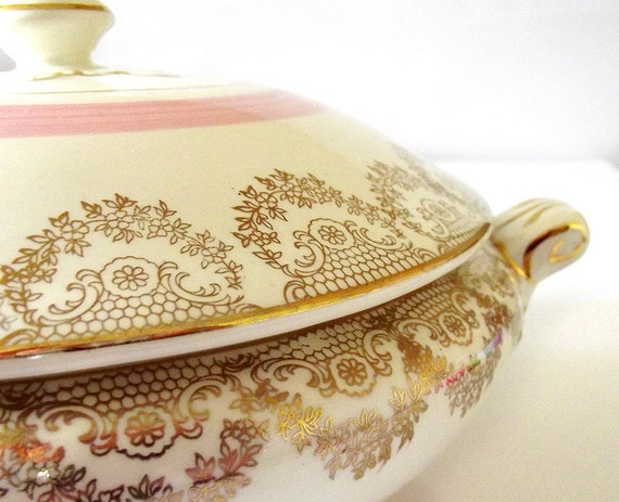 Arklow Pottery soup tureen in gold and cream with pink stripe. Vintage Irish Ireland ceramic