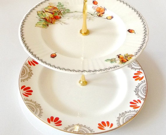 Orange gold and cream with arklow pottery two tier cake stand