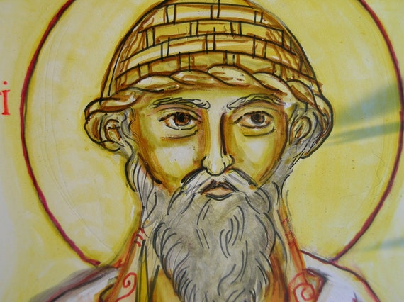 St. Spyridon Icon ---Orthodox Handpainted Icon with Watercolor effects, 5x7