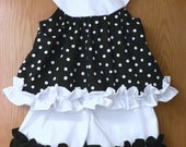 Custom Made Girl's 2 Piece Shorts Outfit in Black and White Polka Dot - Size 4