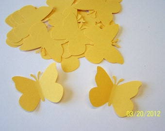 50 Bright Yellow Large Paper Butterfly Punch Die cuts Cutout Confetti Embellishments Scrapbooking