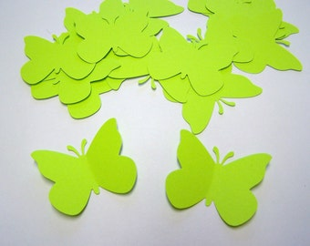 50 Lime Green Paper Butterfly Punch Die cuts Confetti Embellishments Scrapbooking