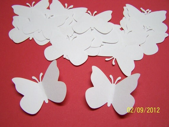 50 White Large Paper Butterfly Die Cuts Cutout Punch Confetti Embellishment Wedding