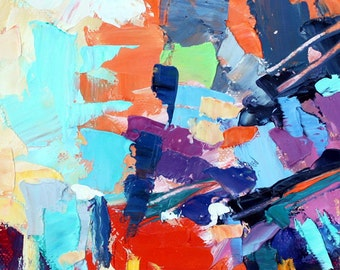 Original Abstract Oil Painting Cityscape  Manhattan scene cityscape 5x7 inches  with Mat 10x14 inches by Elizabeth Elkin