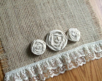 "Burlap Table Runner - Ruffled Lace 12""x84"" (Custom sizes also available) Tablerunner"