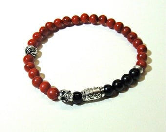 DEAD-RED: Mens stretch blood coral and Onyx bracelet 6mm