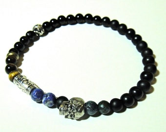 ENIGMA- Mens 6mm Stretch skull bracelet