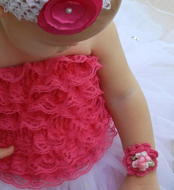 Infant Crochet Cuff Bracelet/ Pink Flower