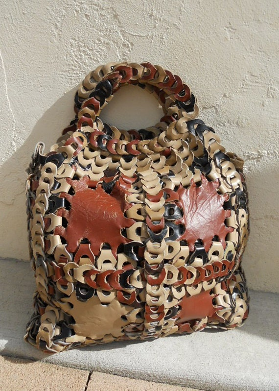 Vintage 70s Woven PATCHWORK Leather Bag