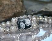 Wedding Bracelet, Bridal Jewelry, Bracelet for FlowerGirls, Gift for your Flower Girl, Pretty Pearl Photo Bracelet with Organza Bow