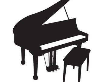 Grand Piano Decal - Vinyl Sticker - For Car Window,  Laptop, Wall