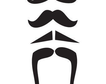 Vintage Mustache Decal - Vinyl Sticker - 4 Pack - For Laptop, Wall, Car, Window