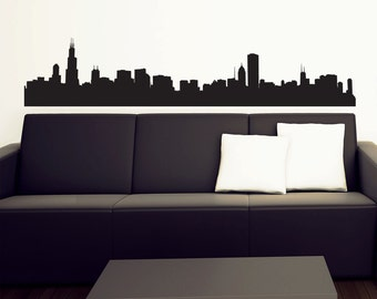 Chicago Skyline Wall Decal - Vinyl Sticker - Free Shipping