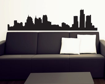 Detroit Skyline Wall Decal - Vinyl Sticker -