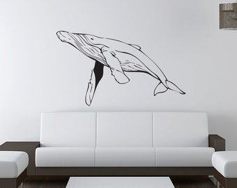 Humpback Whale Wall Decal -  Vinyl Sticker