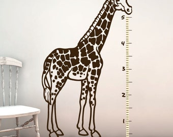 Giraffe Wall Decal - Kids Growth Chart - Vinyl Sticker