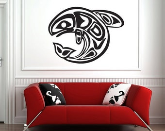 "Native American Fish Wall Decal -  Vinyl Sticker - (44"")"