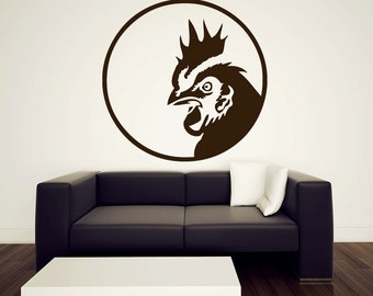 """Rooster Wall Decal - Vinyl Sticker - 36"""""""