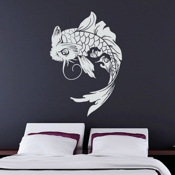 Koi fish wall decal japanese vinyl sticker for Koi fish wall stickers