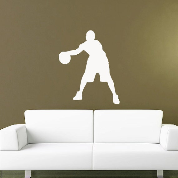 Basketball wall decal sticker kids room sports school for Sports decals for kids rooms