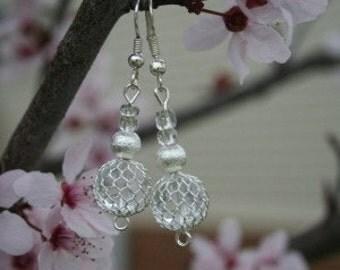 Beautiful Silver Dangle Earring with Metal Netting