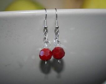 Red Disco Ball Fishhook Earring