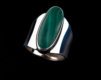 Malachite Ring ~ Gorgeous green  stone~ Handcrafted in Colorado~ 48.00~ Sterling Silver-Choose Your Stone!
