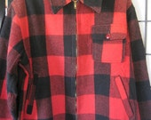 Classic Vintage 1950s 1960s Woolrich Style Red Black Plaid Wool Rugged Retro Jacket 42 Unisex