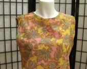 Vintage Mod Paisley Dress 1960s 1970s Yellow Coral Pink Turquoise Blue Orange Shift Sleeveless Sheath Shift Large