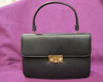 Vintage 1960s Handbag Purse Navy Blue Goldtone Hardware Leather Look Vinyl Classic Chic Pocketbook