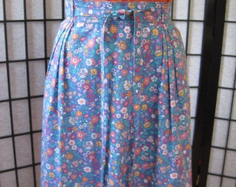 Vintage Skirt 1970s 1960s LL Bean Wrap Around Flowers Blue Turquoise Coral White Red Yellow Lavender Purple Adjustable 27 28 30 32 34 SALE